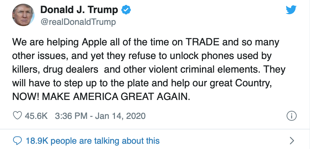 Trump calls on Apple to unlock iPhone